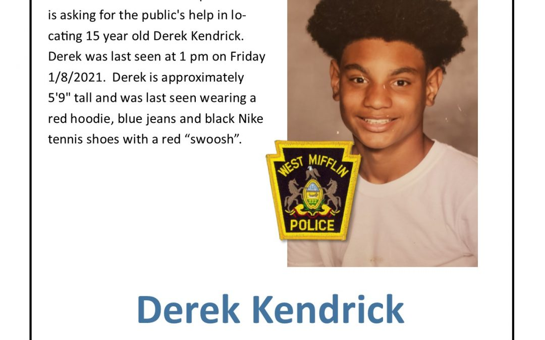 Missing Person – Juvenile – Derek Kendrick