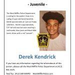 Missing Person – Juvenile – Derek Kendrick