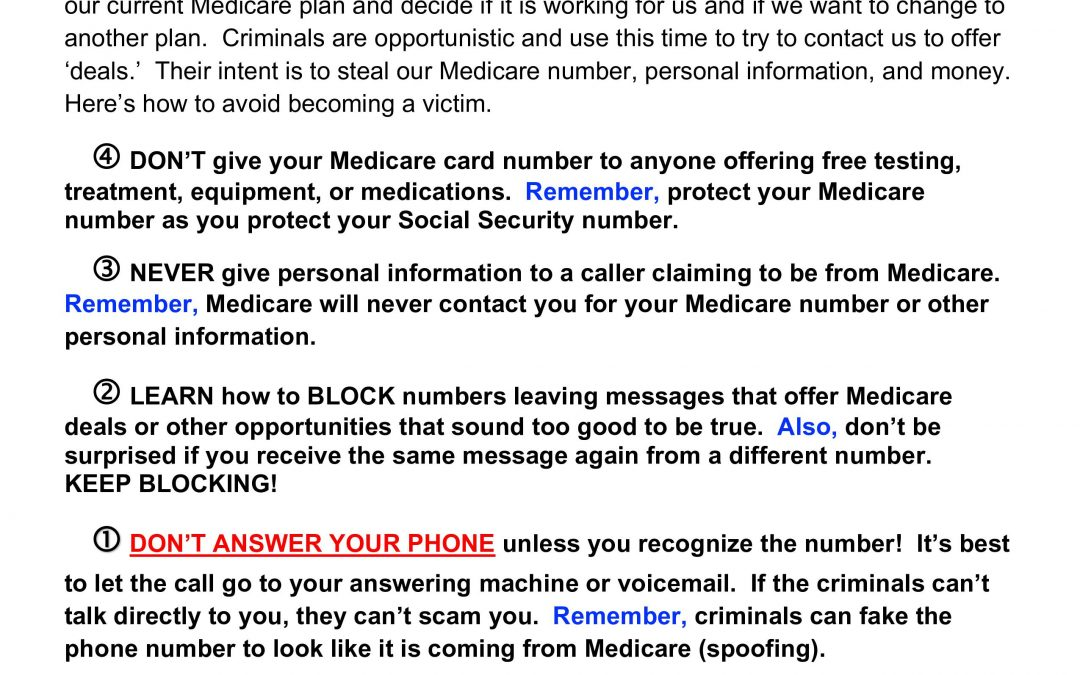 Stay Alert For Medicare SCAMS!